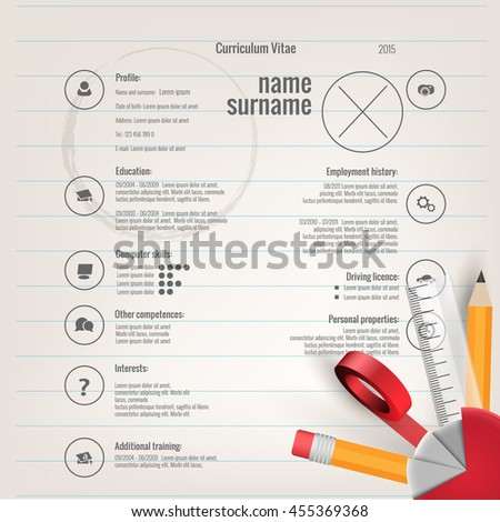Vector modern cv / resume - template - school theme