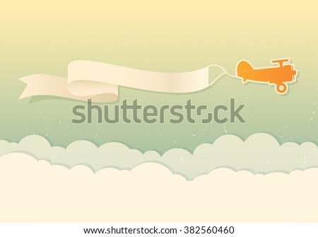 Vector modern design for flying advertising banners. Retro yellow plane with banner above the clouds. - stock vector
