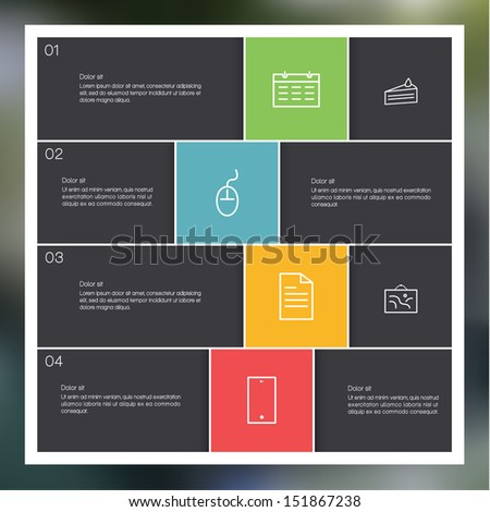 Vector modern design template. Clean presentation with place for your text. Four choices. Minimalistic box layout. - stock vector