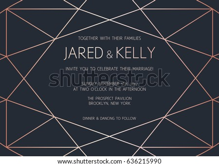Vector modern design template for wedding invitation. Art Deco geometric rose gold pattern