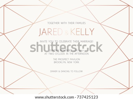Vector modern design template wedding invitation stock photo photo vector modern design template for wedding invitation art deco geometric rose gold pattern stopboris Choice Image