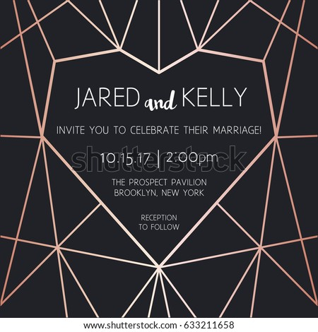 Vector modern design template for wedding invitation. Rose gold geometric heart pattern
