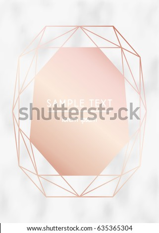 Vector modern design template for wedding or birthday invitation, brochure, poster or business card. Rose gold geometric diamond on a marble texture background
