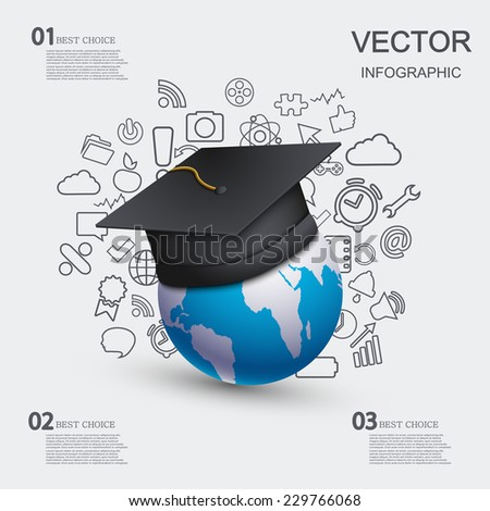 vector modern education infographic background. Eps 10 - stock vector