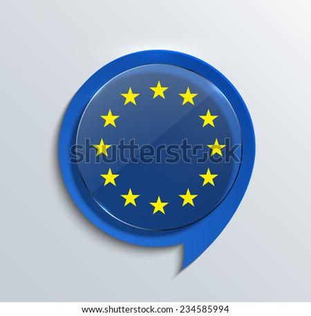 vector modern euro flag design. circle glass on blue bubble speech - stock vector