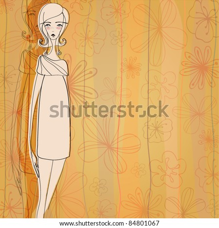 vector modern fashion background with elegant stylized fashion model for your autumn design - stock vector