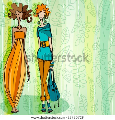 vector modern fashion background with elegant stylized fashion models - stock vector
