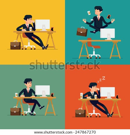 Vector modern flat character design on businessman at work | Funny office character for web sites applications business strategy marketing presentations with bored confident tired and meditating man - stock vector