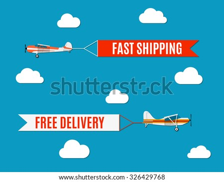 Vector modern flat concept design on flying advertising banners pulled by light plane - stock vector