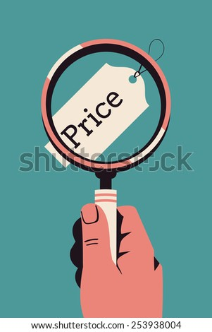 Vector modern flat concept design on market price and cost comparison, closer look on price components with hand holding magnifying glass over price tag label - stock vector