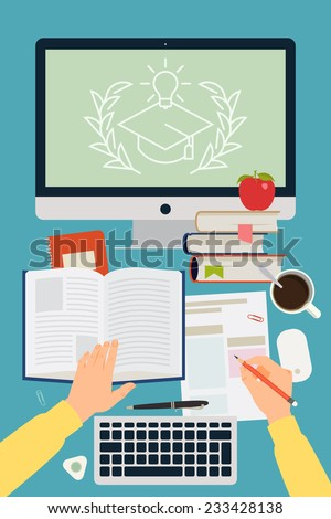 Vector modern flat concept design on online graduation process | Creative illustration on e-learning process featuring human hands, book, test blank, personal desktop computer and more, top view - stock vector