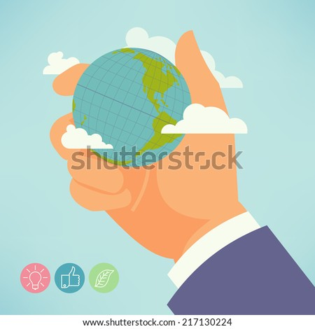 Vector modern flat concept ecology themed design featuring hand holding planet with clouds | Abstract illustration background showing hand with globe, global warming, ecological problems - stock vector