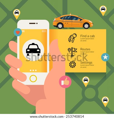 Vector modern flat creative infographics design on public taxi service application featuring yellow modern taxi cab | Male hand holding phone with taxi hire service application running - stock vector