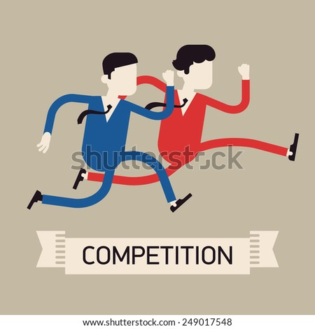 Vector modern flat design abstract web banner on competition in business and industry | Two different businessmen competition run | Rivals dashing - stock vector