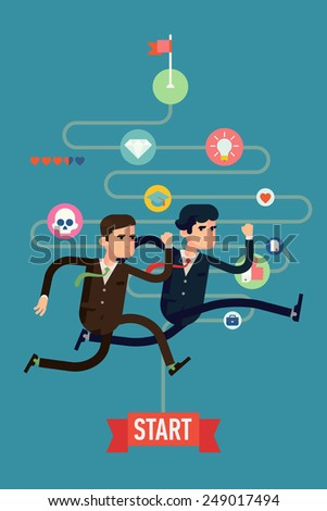 Vector modern flat design abstract web banner template on competition in business and industry | Two different businessmen competition run for goal and success - stock vector