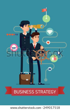 Vector modern flat design abstract web banner template on successful strategy in business and industry | Two businessmen with steering wheel and spyglass leading to their goals and success - stock vector