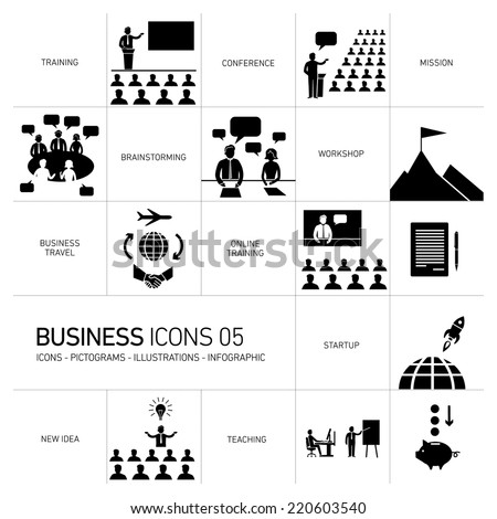 vector modern flat design business icons and illustrations set of training, businessman on conference or workshops white pictogram and infographic isolated on black background - stock vector