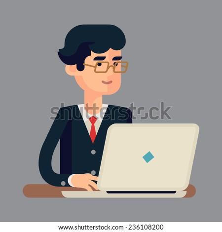 Businessman Using Laptop Stock Vectors & Vector Clip Art ...