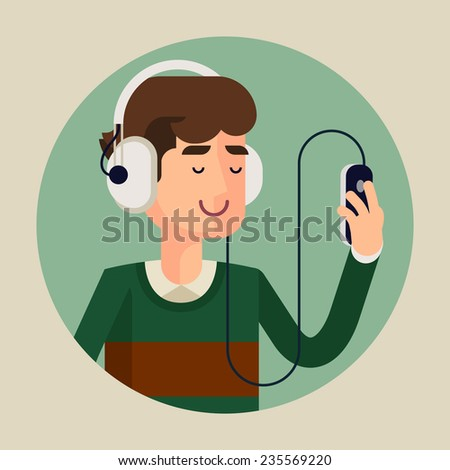 Vector modern flat design circle icon of casual clothed man wearing earphones listening music on his smart phone, turquoise background | Cartoon character of music lover enjoying his favorite track - stock vector