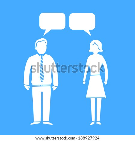 vector modern flat design communication and dialogue soft skills icon white isolated on blue background - stock vector