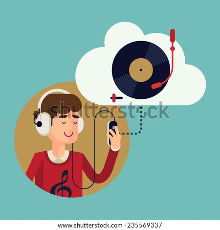 Vector modern flat design concept illustration of casual clothed man wearing earphones listening music on his smart phone using online cloud service | Finest music records available online