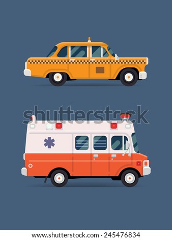 Vector modern flat design creative icons on ambulance van and yellow retro taxi cab, isolated | Public service city transport icons - stock vector