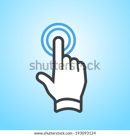 vector modern flat design hand double tapping gesture with one finger icon isolated on blue background - stock vector