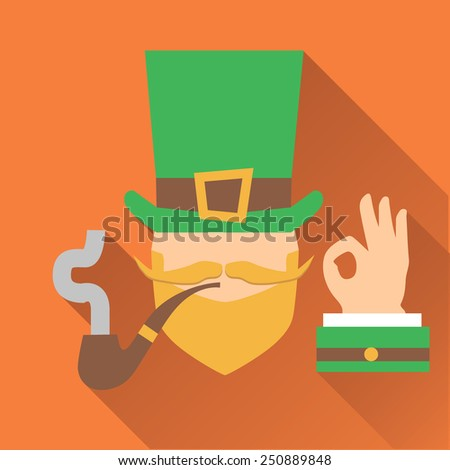 Vector modern flat design icon on Saint Patrick's Day character leprechaun with green hat, red beard, smoking pipe and no face - stock vector
