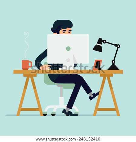 Vector modern flat design illustration on businessman character working with desktop computer featuring office table with work lamp, coffee mug, and photo frame - stock vector