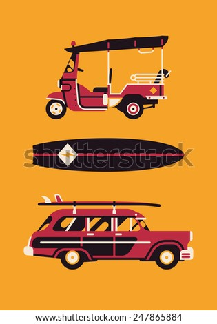 Vector modern flat design items on hot summer exotic destination vacation, beach water activities recreation, surfing with tuk tuk auto rickshaw tricycle, surfboard and retro woodie wagon surf car - stock vector