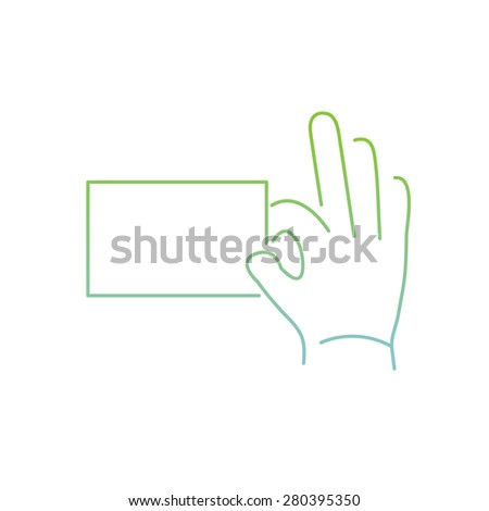 vector modern flat design linear icon of hand holding a card gesture | thin line pictogram with green and blue gradient isolated on white background