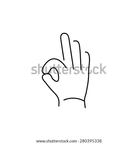 vector modern flat design linear icon of okay hand gesture | black thin line pictogram isolated on white background - stock vector