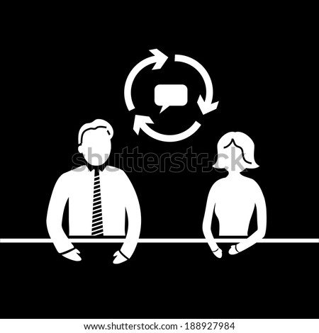 vector modern flat design mentoring and coaching interview soft skills icon white isolated on black background - stock vector
