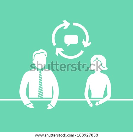 vector modern flat design mentoring and coaching interview soft skills icon white isolated on green background - stock vector