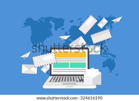 Vector modern flat design of email marketing. Laptop with envelope or letters on world map background - stock vector
