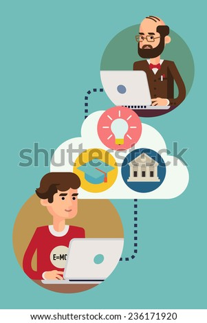 Vector modern flat design on online education process | Creative illustration on e-learning process with teacher and student characters using their computers; target, achievement, graduation icons - stock vector