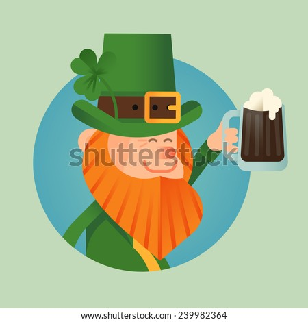 Vector modern flat design Saint Patrick's day character leprechaun icon holding pint of stout, smiling and cheering - stock vector