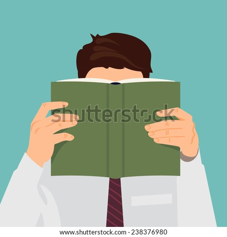 Vector modern flat design square illustration on man reading book with empty green cover | Male character with face hidden behind the book in his hands