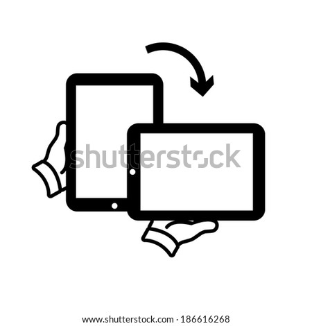 vector modern flat design tablet touch screen rotation icon wit hand holding device black isolated on white background - stock vector