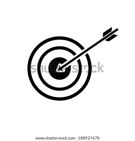 vector modern flat design target to goal and focus soft skills icon wit arrow black isolated on white background - stock vector