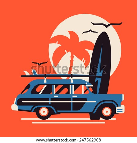 Vector modern flat design wall art on summer vacation on surf beach featuring retro woody car with surfing boards and palm silhouette on large sun circle - stock vector