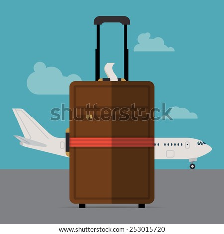 Vector modern flat design web banner background on hand cabin size luggage suitcase standing with regular airline jet plane standing on blue sky with clouds background - stock vector
