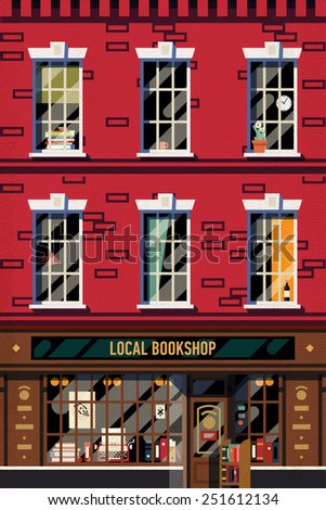Vector modern flat design web banner or printable poster background on downtown brick building structure facade with detailed windows and old fashioned antiquarian book shop front on ground floor - stock vector