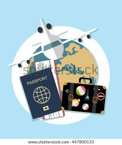 Vector modern flat design web icon on airline tickets and travel with jet airliner flying, passport, boarding pass ticket and globe with clouds