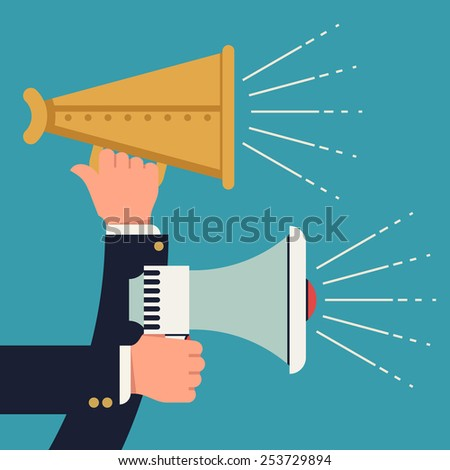 Vector modern flat design web icon on target marketing, sharing, promotion and public announcement with hands holding loudspeakers working shooting abstract sound waves beams and rays  - stock vector