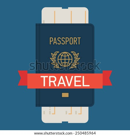 Vector modern flat design web icon on travel and tourism featuring blue covered passport with boarding pass airline ticket, isolated - stock vector