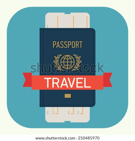 Vector modern flat design web icon on travel and tourism featuring passport with boarding pass airline ticket, isolated, round corners - stock vector