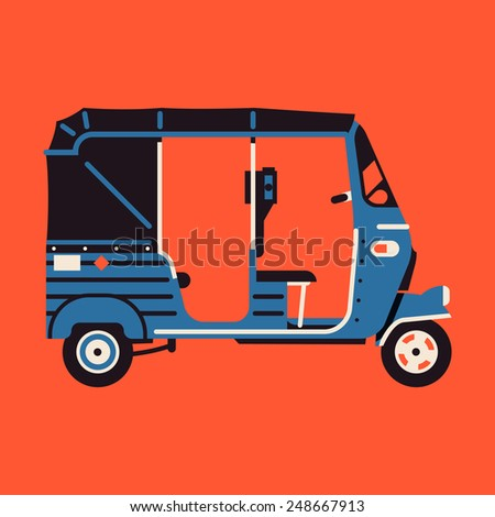Vector modern flat four colors design round corners transport vehicle icon on exotic destination countries baby taxi auto rickshaw tuk tuk three wheeler tricycle