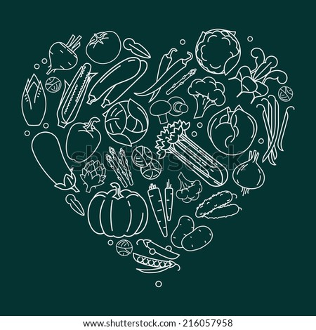 Vector modern flat heart shaped line art vegetables composition, white contour on dark background | Vegetables heart design element | Vegetarian decoration heart shaped element - stock vector