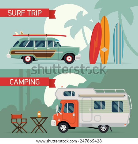 Vector modern flat horizontal web banners design on best summer vacation, beach recreation, surfing, sight seeing, camping, caravan trip and tourism for travel agency promotion and digital marketing - stock vector